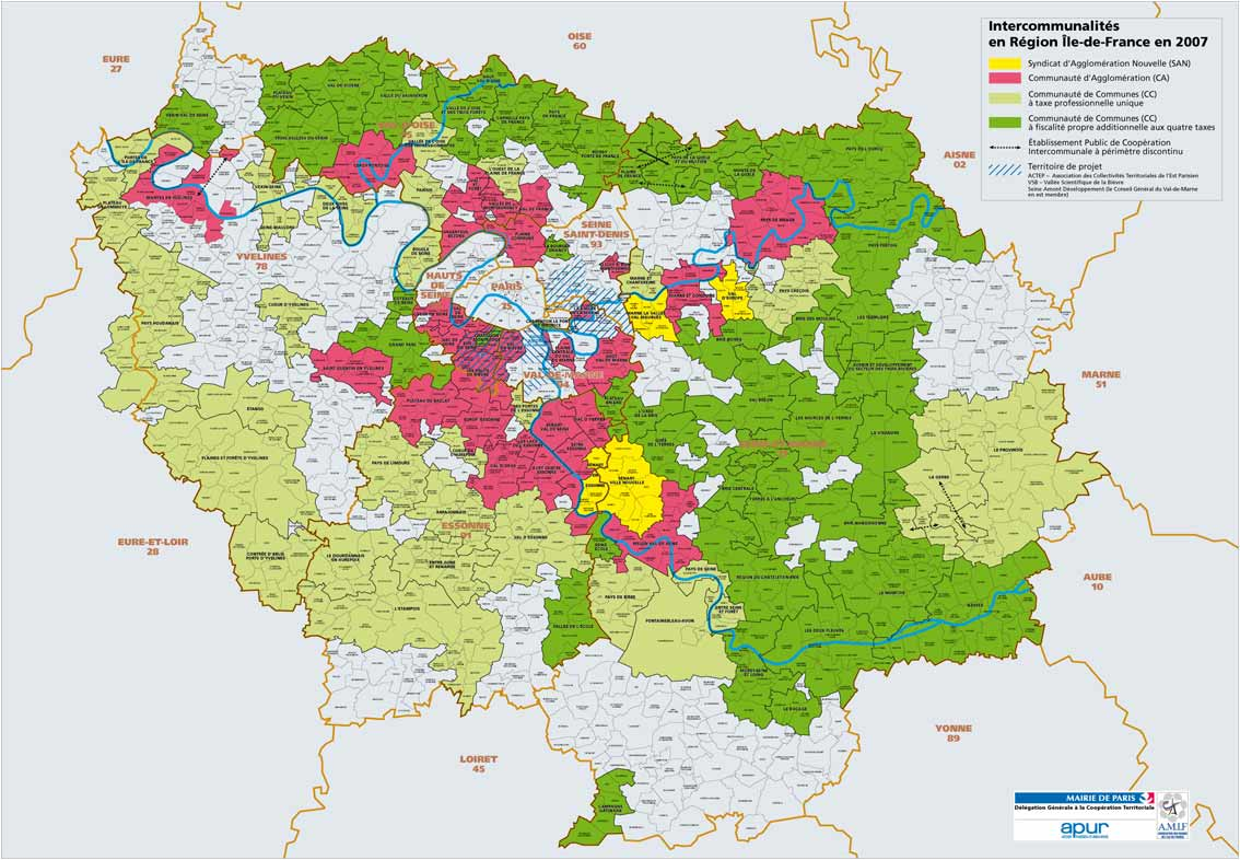 Carte des intercommunalit s en ile de france en 2007 for Jardin botanique ile de france