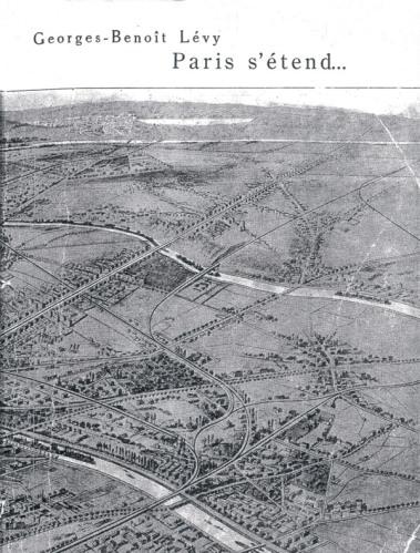 Couverture de l'ouvrage Paris s'étend…. Il s'agit de la perspective à vol d'oiseau due à E. Alix représentant le tracé du boulevard de la Porte Maillot à la forêt de Saint-Germain projeté par Léon Francq en 1902.