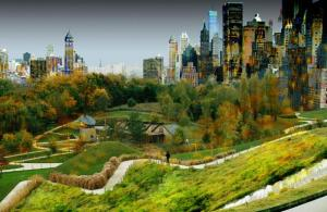 Roland Castro a imaginé le parc de la Courneuve totalement transformé à la manière de Central Park à New York./R. Castro
