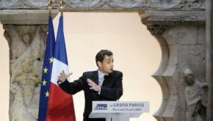 """© AFP """"La crise, c'est l'opportunité de faire des grands projets"""" a déclaré Nicolas Sarkozy."""